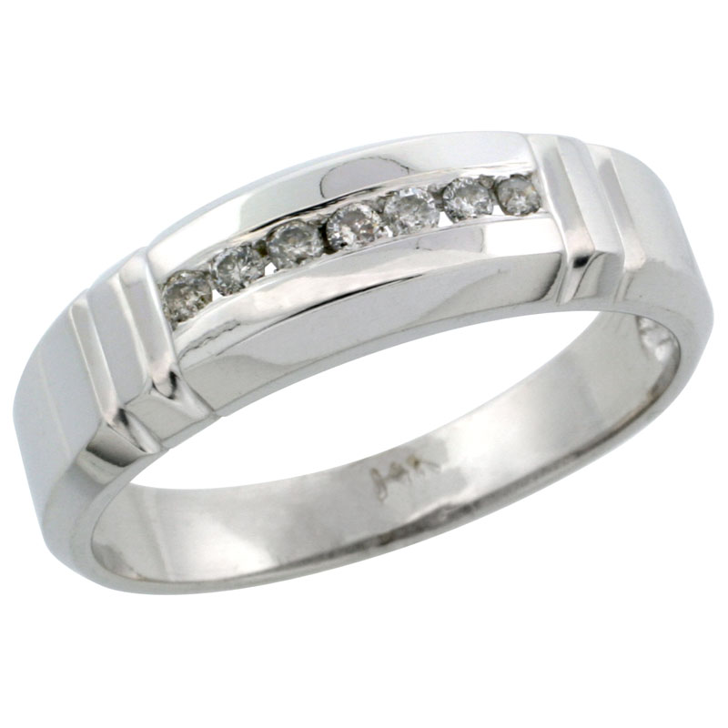 14k White Gold Men's Diamond Ring Band w/ 0.14 Carat Brilliant Cut Diamonds, 1/4 in. (6.5mm) wide