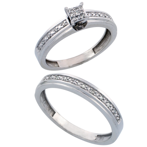 14k White Gold 2-Piece Diamond Ring Set ( Engagement Ring & Man's Wedding Band ), w/ 0.21 Carat Brilliant Cut Diamonds, ( 4mm; 4mm ) wide