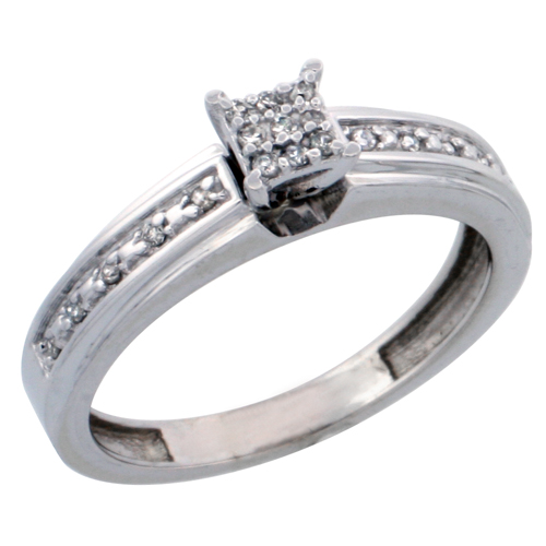 14k White Gold Diamond Engagement Ring, w/ 0.13 Carat Brilliant Cut Diamonds, 5/32 in. (4mm) wide