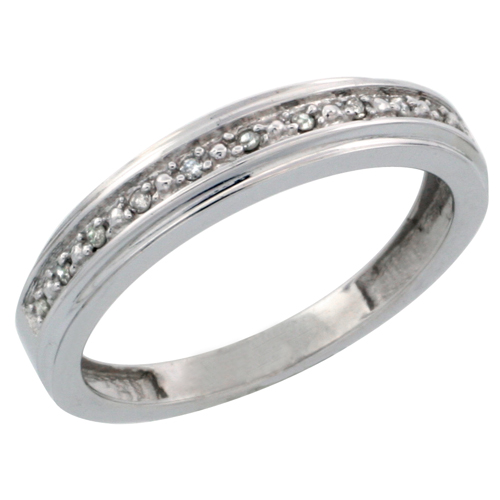 14k White Gold Ladies' Diamond Band, w/ 0.08 Carat Brilliant Cut Diamonds, 5/32 in. (4mm) wide