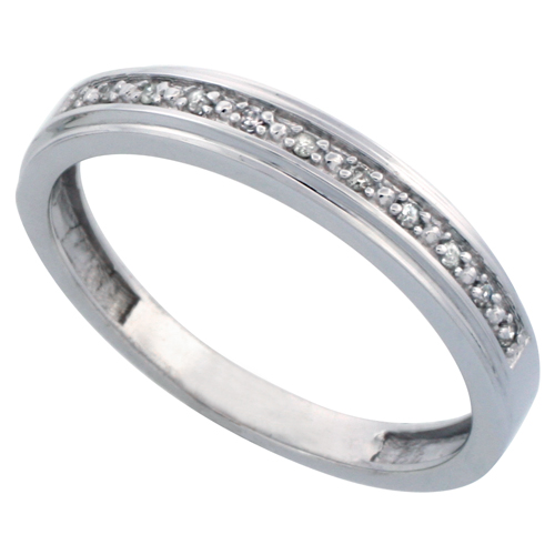 14k White Gold Men's Diamond Band, w/ 0.08 Carat Brilliant Cut Diamonds, 5/32 in. (4mm) wide