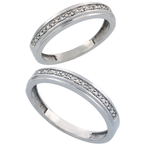 14k White Gold 2-Piece His (4mm) & Hers (4mm) Diamond Wedding Band Set, w/ 0.16 Carat Brilliant Cut Diamonds; (Ladies Size 5 to10; Men's Size 8 to 14)