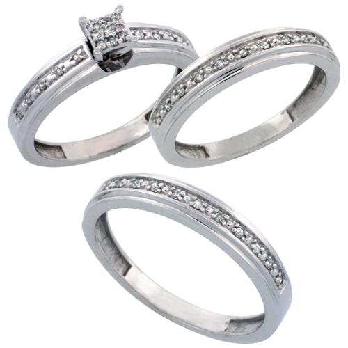 14k White Gold 3-Piece Trio His (4mm) & Hers (4mm) Diamond Wedding Band Set, w/ 0.29 Carat Brilliant Cut Diamonds; (Ladies Size 5 to10; Men's Size 8 to 14)