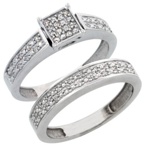 14k White Gold 2-Piece Diamond Engagement Ring Set, w/ 0.24 Carat Brilliant Cut Diamonds, 5/32 in. (4mm) wide