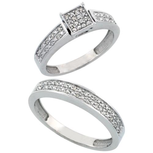 14k White Gold 2-Piece Diamond Ring Set ( Engagement Ring & Man's Wedding Band ), w/ 0.24 Carat Brilliant Cut Diamonds, 5/32 in. (4mm) wide
