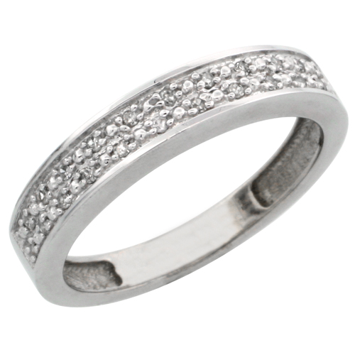 14k White Gold Ladies' Diamond Band, w/ 0.10 Carat Brilliant Cut Diamonds, 5/32 in. (4mm) wide
