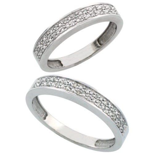 14k White Gold 2-Piece His (4mm) & Hers (4mm) Diamond Wedding Band Set, w/ 0.20 Carat Brilliant Cut Diamonds; (Ladies Size 5 to10; Men's Size 8 to 14)