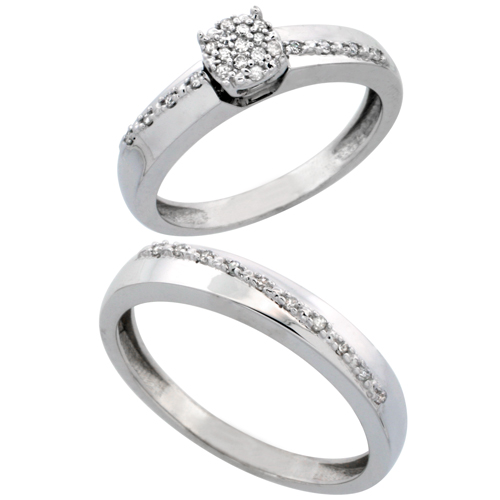 14k White Gold 2-Piece Diamond Ring Set ( Engagement Ring & Man's Wedding Band ), 0.22 Carat Brilliant Cut Diamonds, 1/8 in. (3.5mm) wide