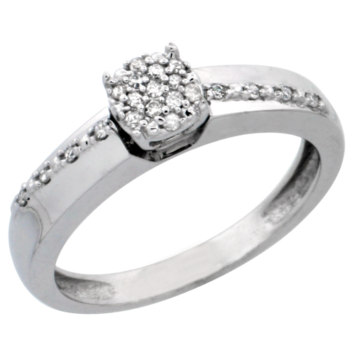 14k White Gold Diamond Engagement Ring, w/ 0.14 Carat Brilliant Cut Diamonds, 1/8 in. (3.5mm) wide
