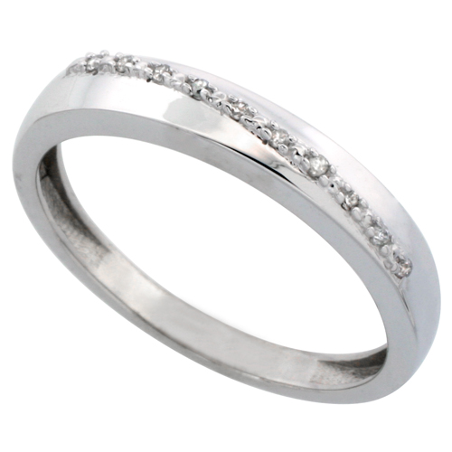 14k White Gold Men's Diamond Band, w/ 0.08 Carat Brilliant Cut Diamonds, 1/8 in. (3.5mm) wide