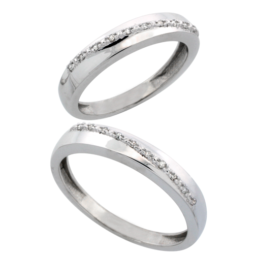 14k White Gold 2-Piece His (3.5mm) & Hers (3.5mm) Diamond Wedding Band Set, w/ 0.16 Carat Brilliant Cut Diamonds; (Ladies Size 5 to10; Men's Size 8 to 14)