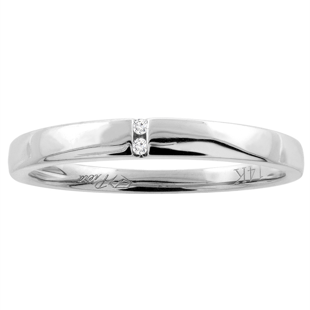 14K White Gold Ladies' Solitaire Diamond Wedding Band 2 mm 0.01 cttw, sizes 5 - 10