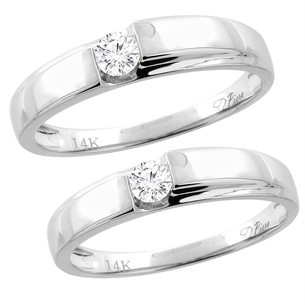 14K White Gold 2-pc Diamond Wedding Ring Set 4 mm His & 3.5 mm Hers, L 5-10, M 8-14 sizes 5 - 10