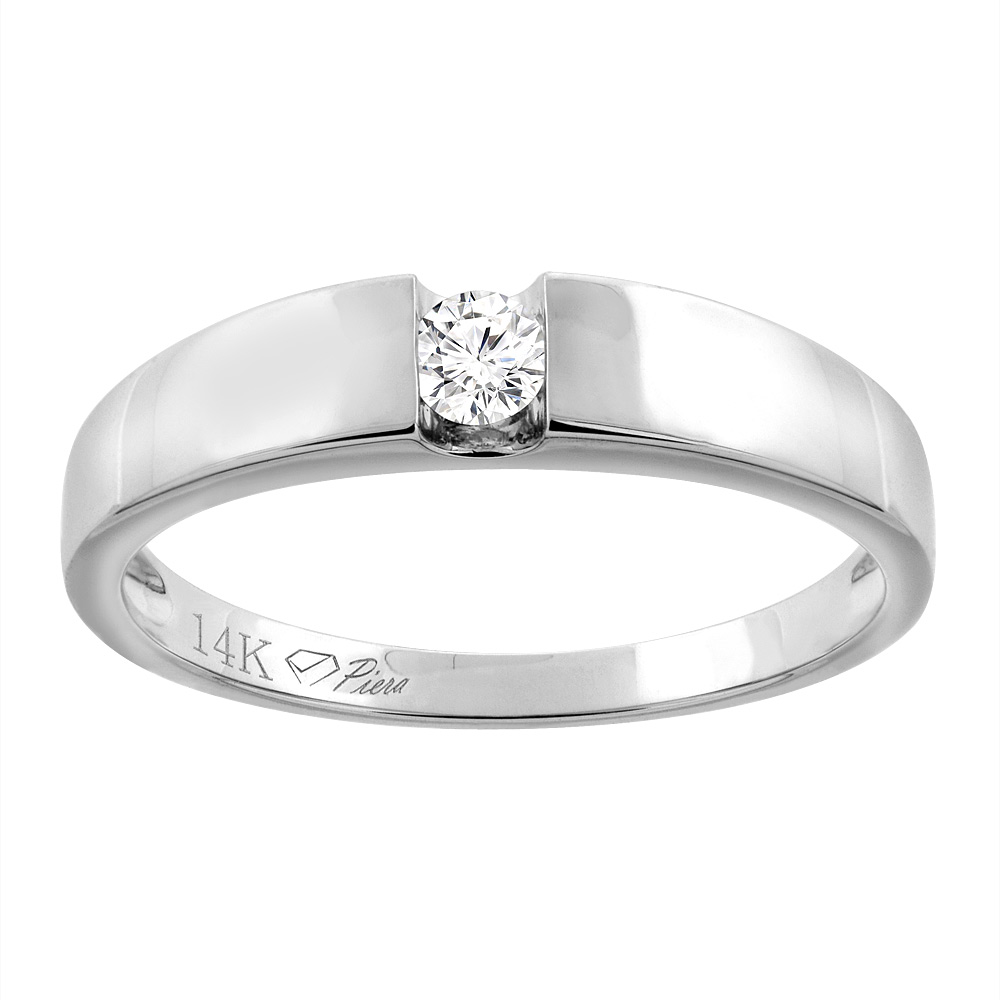 14K White Gold Ladies' Diamond Wedding Band 4 mm 0.11 cttw, sizes 5 - 10