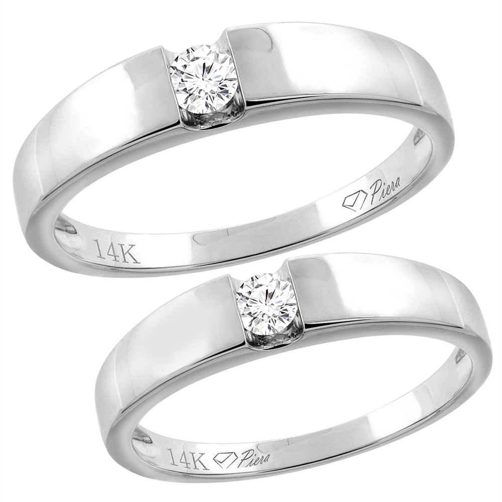 14K White Gold 2-pc Diamond Wedding Ring Set 4.5 mm His & 4 mm Hers, L 5-10, M 8-14 sizes 5 - 10