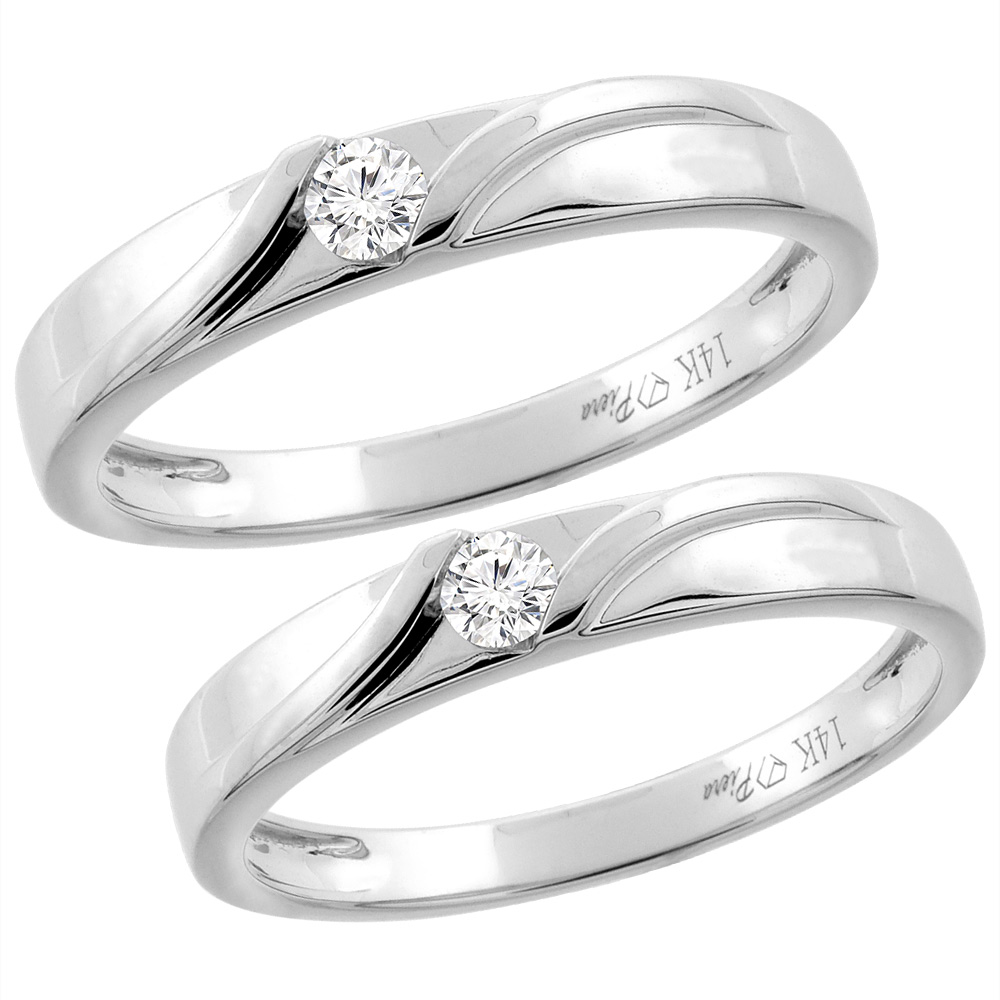 14K White Gold 2-pc Diamond Wedding Ring Set 3.5 mm His & 3 mm Hers, L 5-10, M 8-14 sizes 5 - 10