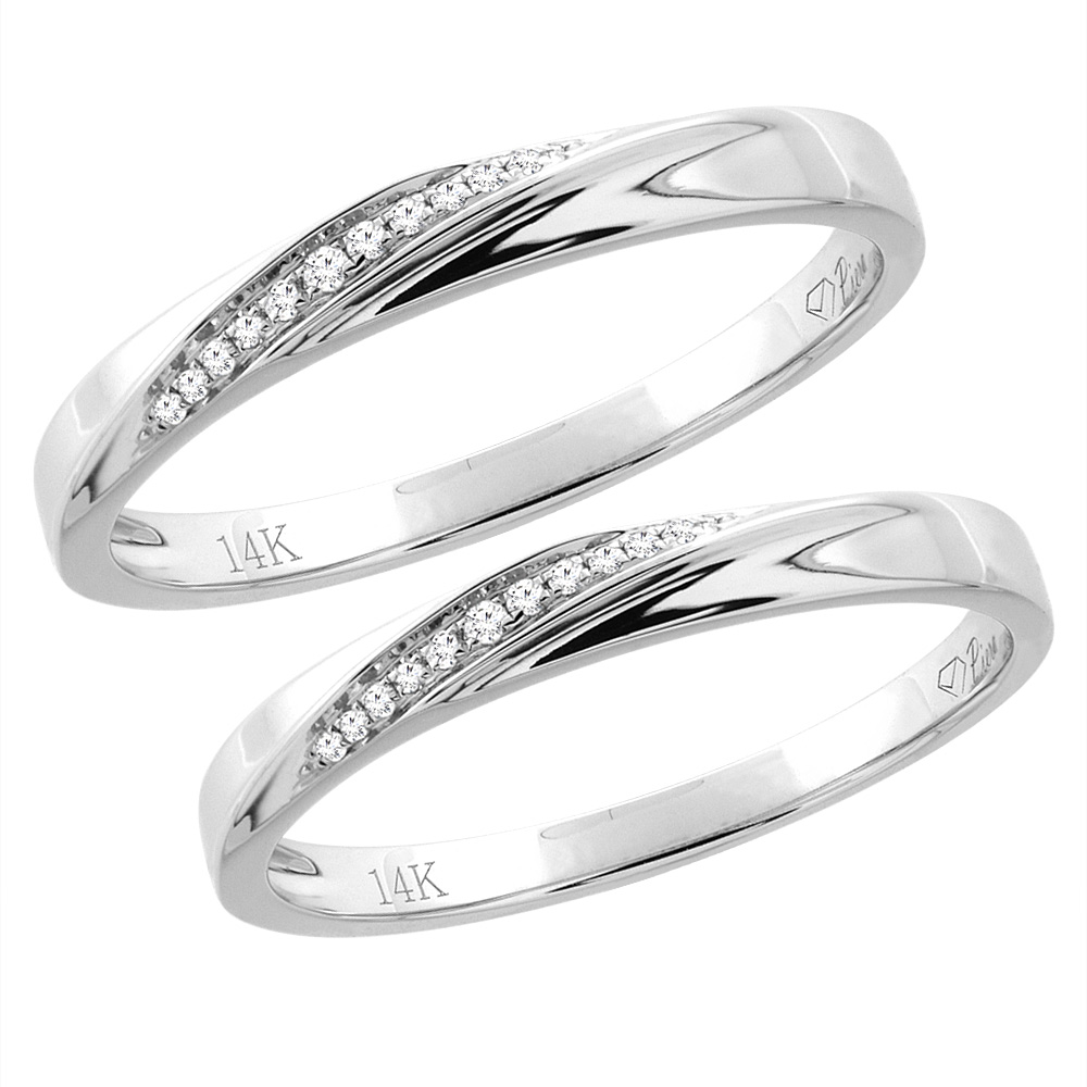 14K White Gold 2-pc Diamond Wedding Ring Set 3 mm His & 2.5 mm Hers, L 5-10, M 8-14 sizes 5 - 10