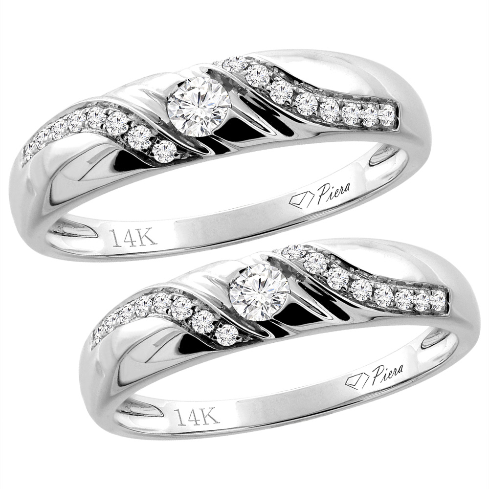 14K White Gold 2-pc Diamond Wedding Ring Set 5 mm His & 4 mm Hers, L 5-10, M 8-14 sizes 5 - 10