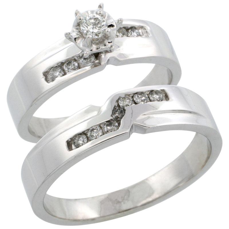 14k White Gold 2-Piece Diamond Ring Band Set w/ Rhodium Accent ( Engagement Ring & Man's Wedding Band ), w/ 0.31 Carat Brilliant Cut Diamonds, ( 5mm; 5mm ) wide