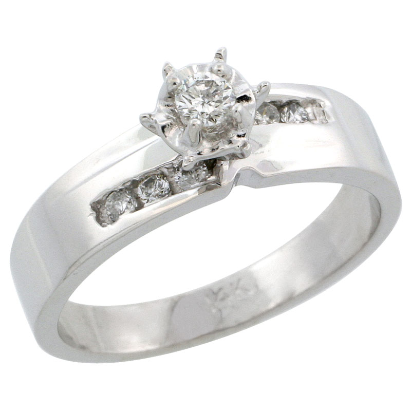 14k White Gold Diamond Engagement Ring w/ 0.18 Carat Brilliant Cut Diamonds, 3/16 in. (5mm) wide