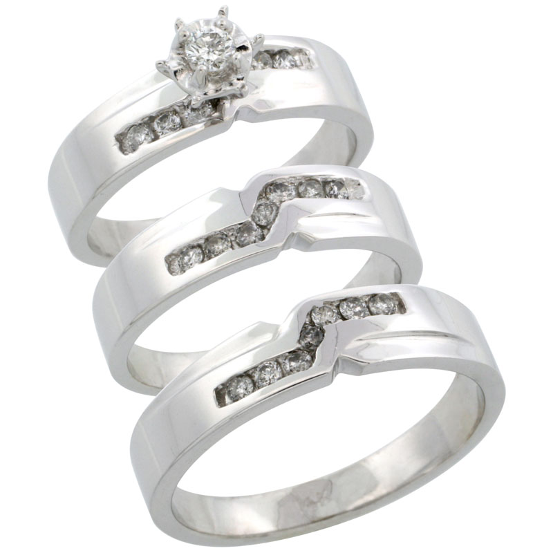 14k White Gold 3-Piece Trio His (5mm) & Hers (5mm) Diamond Wedding Ring Band Set w/ 0.44 Carat Brilliant Cut Diamonds; (Ladies Size 5 to10; Men's Size 8 to 14)