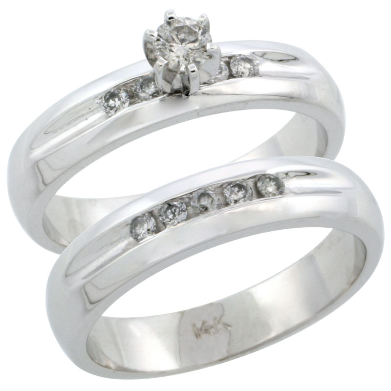 14k White Gold 2-Piece Diamond Engagement Ring Band Set w/ 0.35 Carat Brilliant Cut Diamonds, 3/16 in. (4.5mm) wide