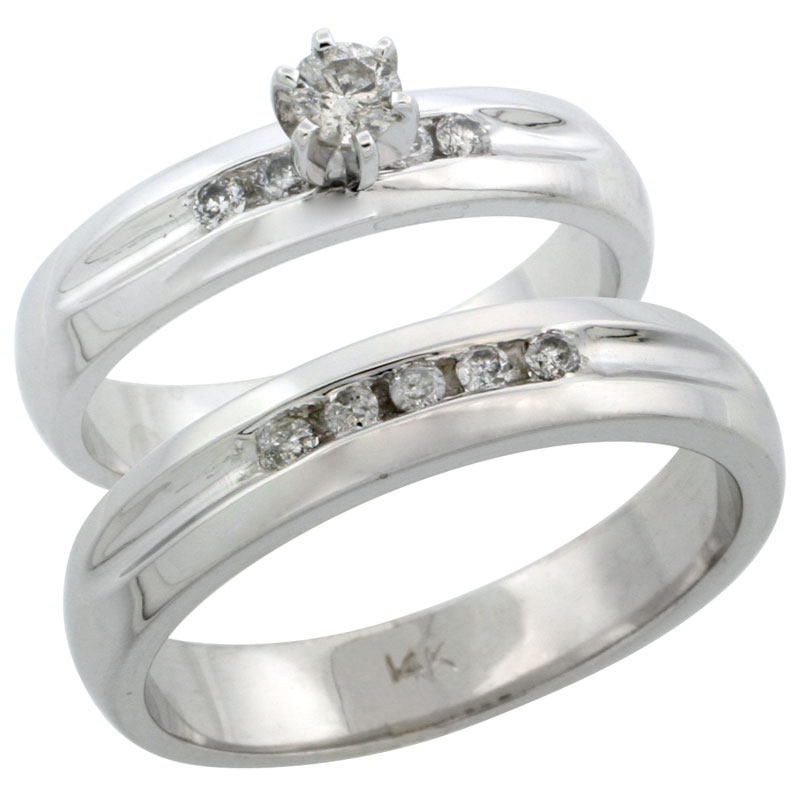 14k White Gold 2-Piece Diamond Ring Band Set w/ Rhodium Accent ( Engagement Ring & Man's Wedding Band ), w/ 0.35 Carat Brilliant Cut Diamonds, ( 4.5mm; 4.5mm ) wide