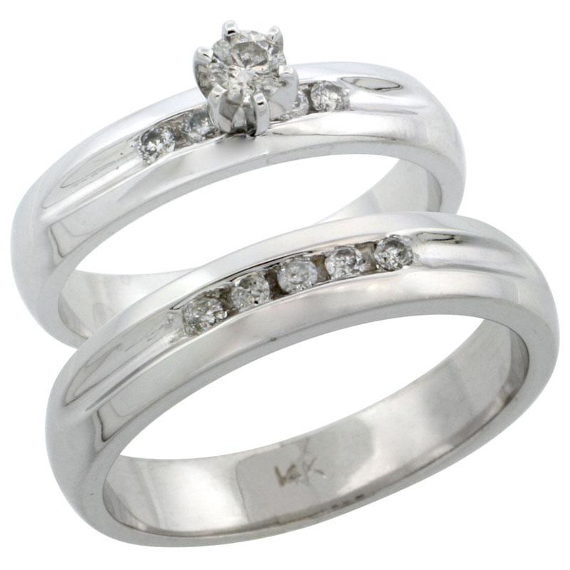 14k White Gold 2-Piece Diamond Ring Band Set w/ Rhodium Accent ( Engagement Ring & Man's Wedding Band ), w/ 0.35 Carat Brilliant Cut Diamonds, ( 4.5mm; 4.5mm ) wide
