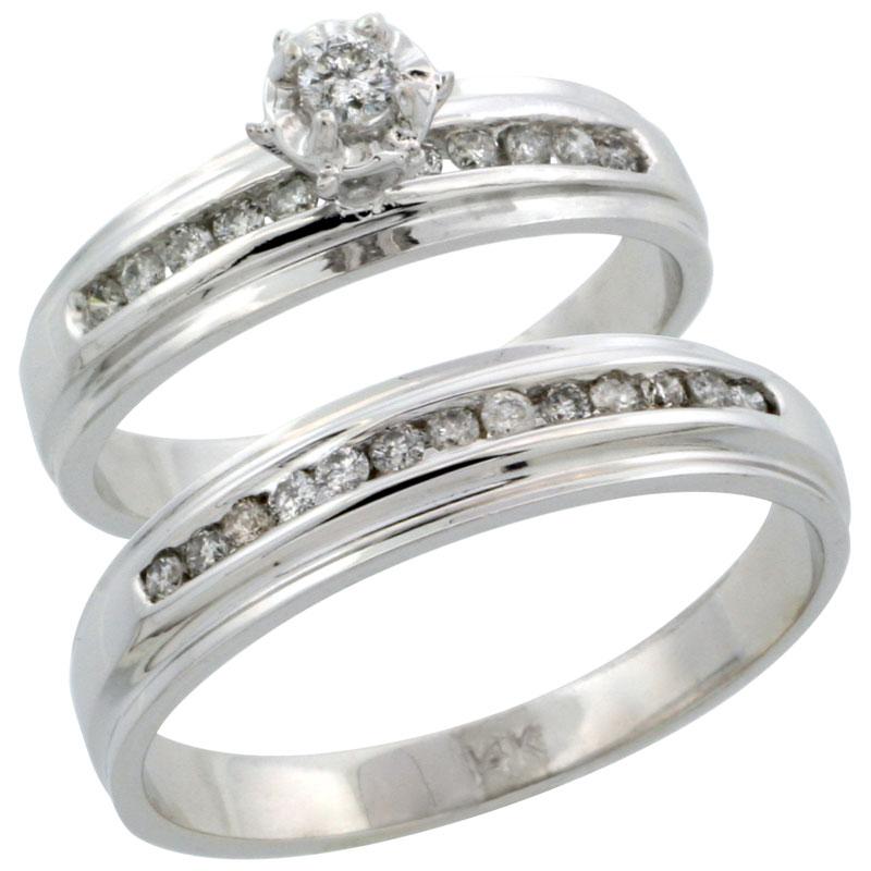 14k White Gold 2-Piece Diamond Ring Band Set w/ Rhodium Accent ( Engagement Ring & Man's Wedding Band ), w/ 0.40 Carat Brilliant Cut Diamonds, ( 5mm; 5mm ) wide