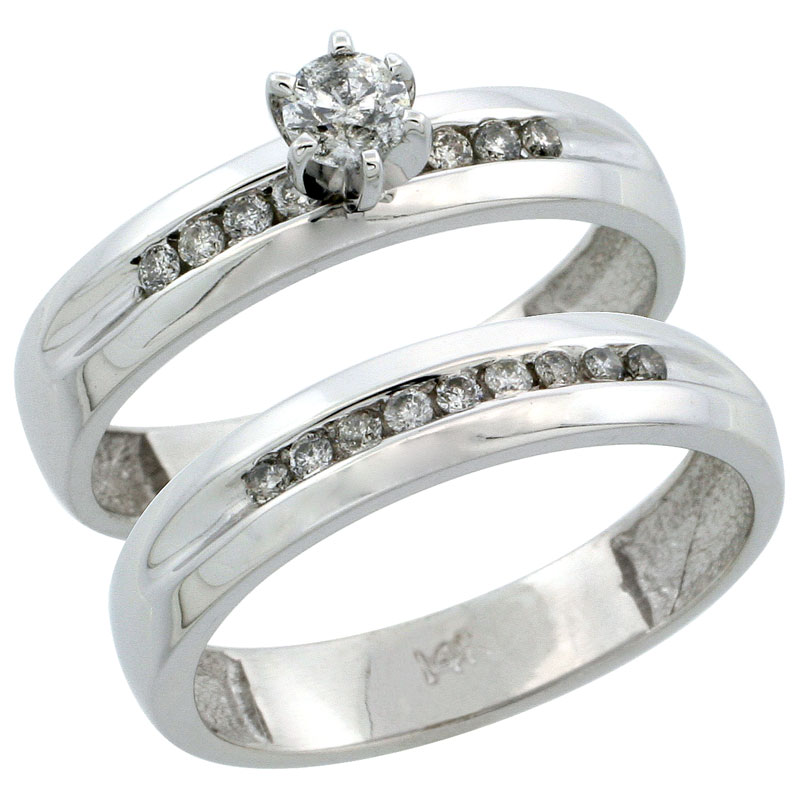 14k White Gold 2-Piece Diamond Engagement Ring Band Set w/ 0.37 Carat Brilliant Cut Diamonds, 5/32 in. (4mm) wide