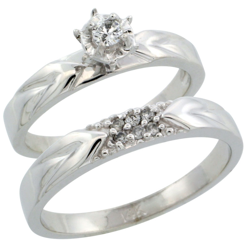 14k White Gold 2-Piece Diamond Ring Band Set w/ Rhodium Accent ( Engagement Ring & Man's Wedding Band ), w/ 0.13 Carat Brilliant Cut Diamonds, ( 3.5mm; 3.5mm ) wide