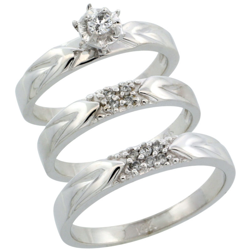 14k White Gold 3-Piece Trio His (3.5mm) & Hers (3.5mm) Diamond Wedding Ring Band Set w/ 0.17 Carat Brilliant Cut Diamonds; (Ladies Size 5 to10; Men's Size 8 to 14)