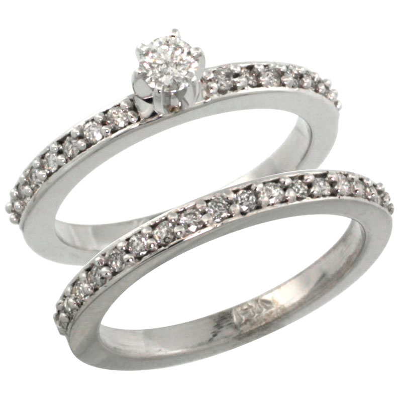 14k White Gold 2-Piece Diamond Engagement Ring Band Set w/ 0.54 Carat Brilliant Cut Diamonds, 3/32 in. (2mm) wide