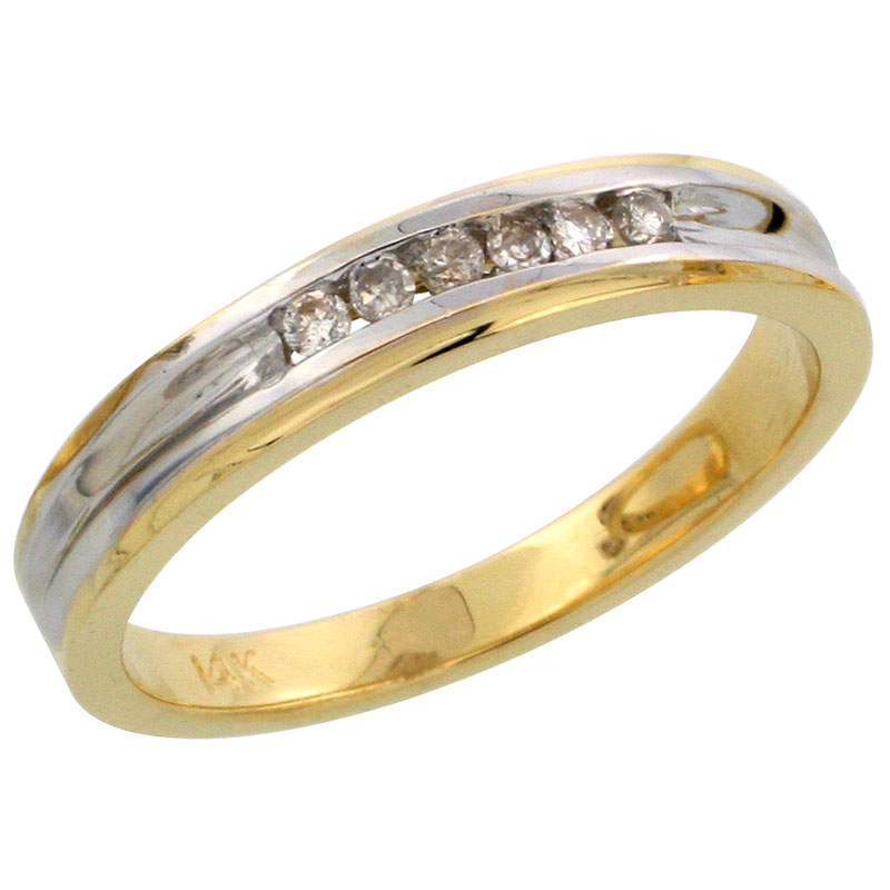 14k Gold Ladies' Diamond Band w/ Rhodium Accent, w/ 0.09 Carat Brilliant Cut Diamonds, 1/8 in. (3.5mm) wide