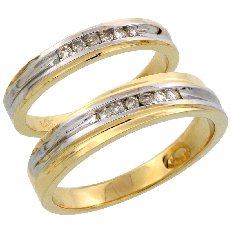 14k Gold 2-Piece His (5mm) & Hers (3.5mm) Diamond Wedding Band Set w/ Rhodium Accent, w/ 0.18 Carat Brilliant Cut Diamonds; (Ladies Size 5 to10; Men's Size 8 to 14)