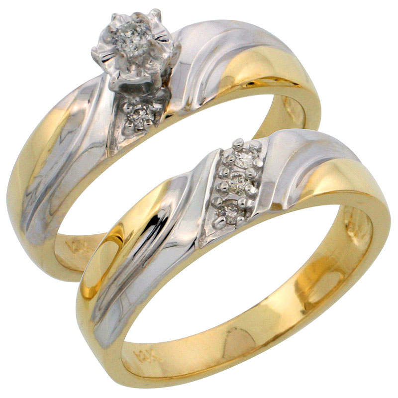 14k Gold 2-Piece Diamond Engagement Ring Set w/ Rhodium Accent, w/ 0.16 Carat Brilliant Cut Diamonds, 3/16 in. (5mm) wide