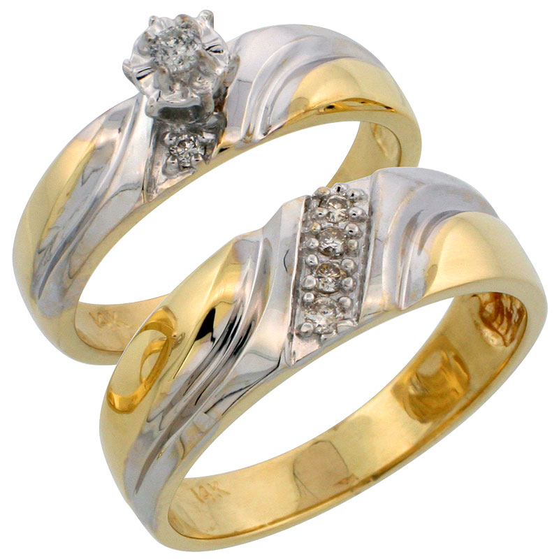 14k Gold 2-Piece Diamond Ring Set w/ Rhodium Accent ( Engagement Ring & Man's Wedding Band ), w/ 0.18 Carat Brilliant Cut Diamonds, ( 5mm; 7mm ) wide