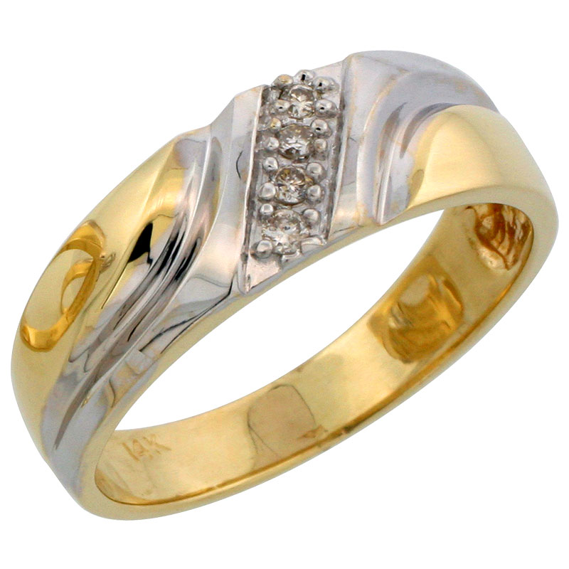 14K Yellow Gold Diamond Jewelry-Rings for Men