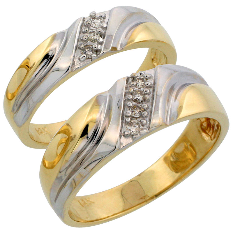 14k Gold 2-Piece His (7mm) & Hers (5mm) Diamond Wedding Band Set w/ Rhodium Accent, w/ 0.14 Carat Brilliant Cut Diamonds; (Ladies Size 5 to10; Men's Size 8 to 14)