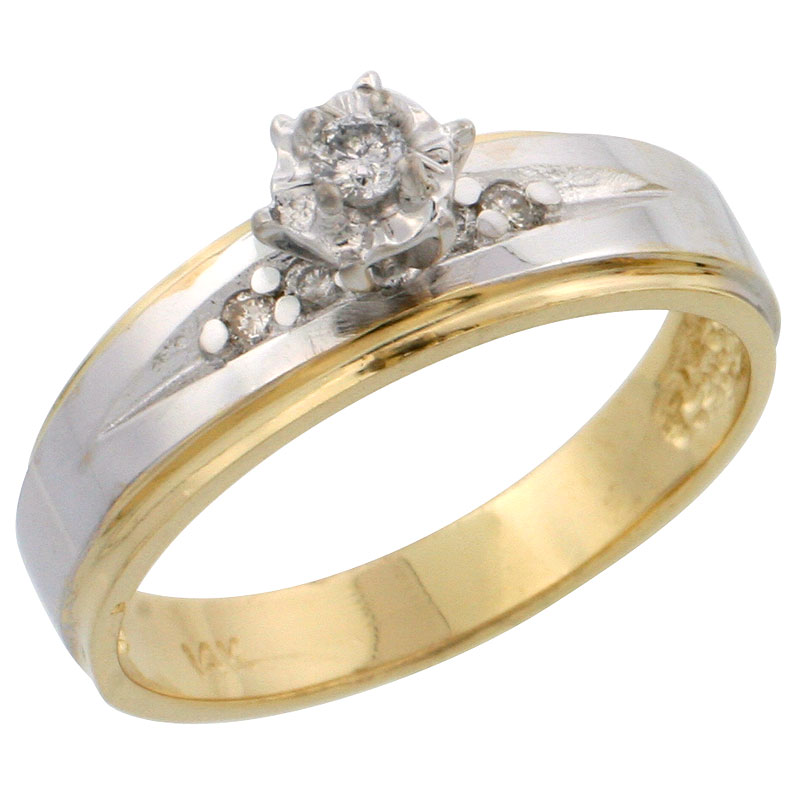 14k Gold Diamond Engagement Ring w/ Rhodium Accent, w/ 0.12 Carat Brilliant Cut Diamonds, 3/16 in. (5mm) wide