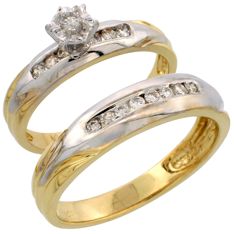 14k Gold 2-Piece Diamond Ring Set w/ Rhodium Accent ( Engagement Ring & Man's Wedding Band ), w/ 0.32 Carat Brilliant Cut Diamonds, ( 3.5mm; 5mm ) wide
