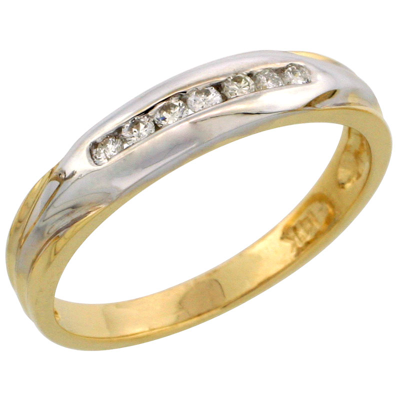 14k Gold Ladies' Diamond Band w/ Rhodium Accent, w/ 0.13 Carat Brilliant Cut Diamonds, 5/32 in. (4mm) wide