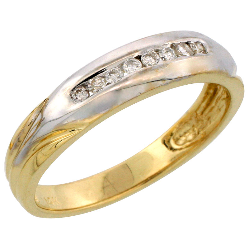 14k Gold Men's Diamond Band w/ Rhodium Accent, w/ 0.15 Carat Brilliant Cut Diamonds, 3/16 in. (5mm) wide