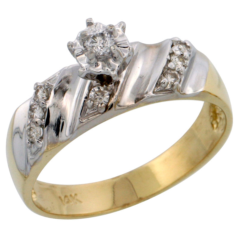14k Gold Diamond Engagement Ring w/ Rhodium Accent, w/ 0.18 Carat Brilliant Cut Diamonds, 1/4 in. (6mm) wide