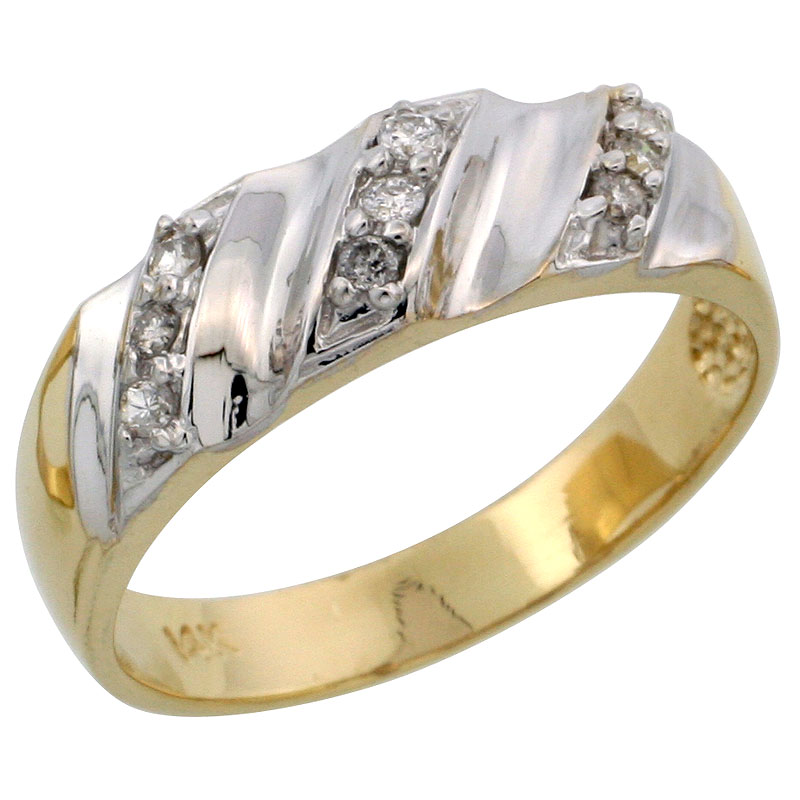 14k Gold Ladies' Diamond Band w/ Rhodium Accent, w/ 0.14 Carat Brilliant Cut Diamonds, 1/4 in. (6mm) wide