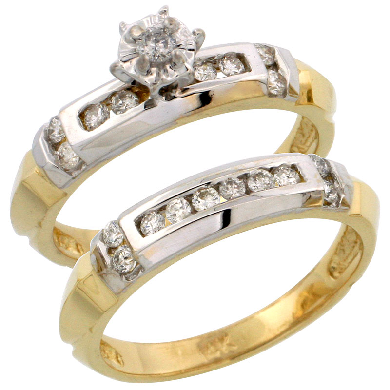 14k Gold 2-Piece Diamond Engagement Ring Set w/ Rhodium Accent, w/ 0.40 Carat Brilliant Cut Diamonds, 5/32 in. (4mm) wide