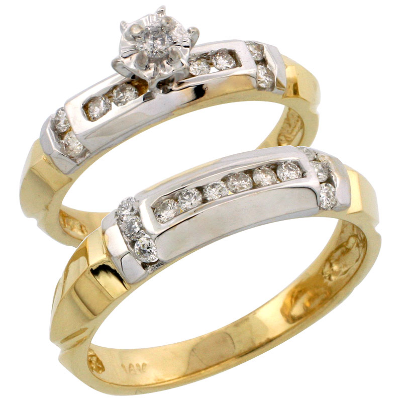 14k Gold 2-Piece Diamond Ring Set w/ Rhodium Accent ( Engagement Ring & Man's Wedding Band ), w/ 0.44 Carat Brilliant Cut Diamonds, ( 4mm; 5mm ) wide
