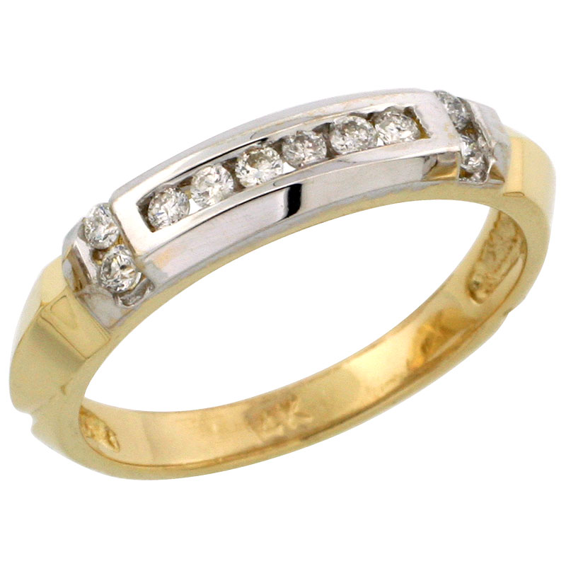 14k Gold Ladies' Diamond Band w/ Rhodium Accent, w/ 0.19 Carat Brilliant Cut Diamonds, 5/32 in. (4mm) wide