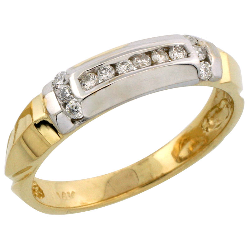 14k Gold Men's Diamond Band w/ Rhodium Accent, w/ 0.23 Carat Brilliant Cut Diamonds, 3/16 in. (5mm) wide