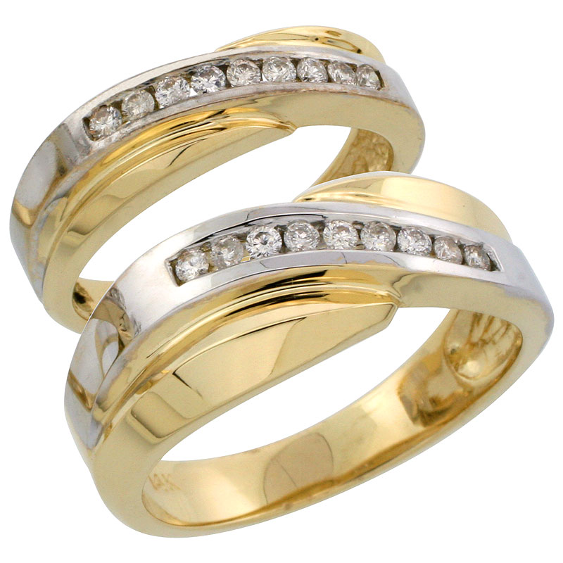 14k Gold 2-Piece His (8mm) & Hers (5mm) Diamond Wedding Band Set w/ Rhodium Accent, w/ 0.32 Carat Brilliant Cut Diamonds; (Ladies Size 5 to10; Men's Size 8 to 14)
